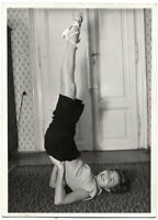 Original vintage 1950s young lady doing gymnastics by BASCH, stamped