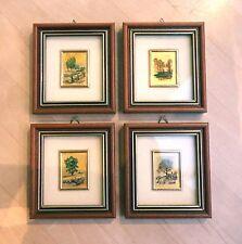 4 edle Bilder Goldfolie Kunstlithographie 4 Jahreszeiten Holzrahmen + Zertifikat
