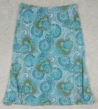 SUSAN LAWRENCE Women's Size XL Skirt Floral Flowers Green Elastic Pull On Waist
