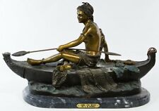 'Girl on Boat' BEAUTIFUL BRONZE Statue Signed Charles Marion Russell