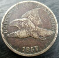 1857 United States Flying Eagle One Cent Penny F Fine Almost VF Very fine Dark