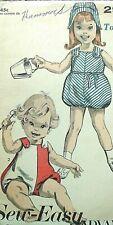 Vintage 1950s Advance sewing pattern 2900 adorable xs toddler playsuits & bonnet