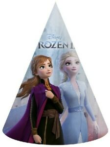 FROZEN THEMED ELSA AND ANNA BLUE PARTY HATS 6 PACK
