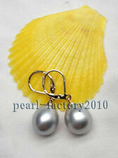 AAA+ 12-13mm gray South Sea  Pearl 14K Gold Earrings