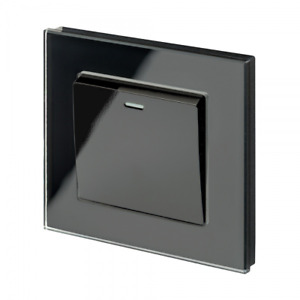 RetroTouch 1 Gang Black 10 Amp Rocker On/Off Light Switch Black Glass PG 00202