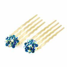 Mini Hair Comb Clip use Swarovski Crystal Hairpin Elegant Bridal Gold Blue C36