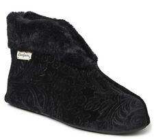Dearfoams Sadie Embossed Velour Bootie Slippers Womens Size S (5-6) NEW