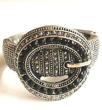 Silver Belt Buckle Bracelet Country Western Cowgirl Crystal Chunky BIG Plated