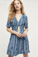 Anthropologie HD In Paris Blue White Print Archipelago Dress Size 2 Cinched