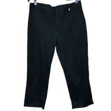 Anne Klein Womens Pants Black Cropped Cotton Blend Size 10