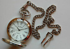 "Men's Silver Pocket Watch with 14"" Chain & Clip. Roman Numerals, White Dial"