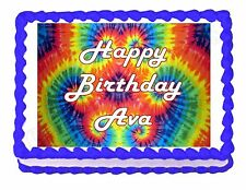 Tie Dye Hippie Party Edible Cake topper decoration - personalized free!