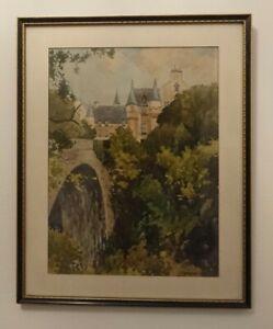 Framed Original Watercolour By John Cochran Cullen House Moray Scottish