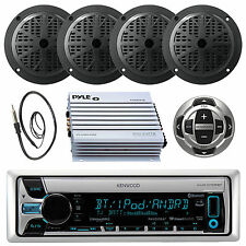 Kenwood Marine Boat CD/MP3 iPhone  Bluetooth Player & Remote 400W Amp 4 Speakers