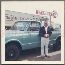 Vintage Photo Man w/ 1967 Chevrolet 4x4 Pickup Truck at Chevy Dealership 692877