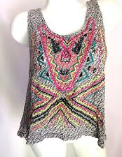 Eyeshadow Boho Tank Top Shirt Embroidered Stretchy Size XL Women's Juniors