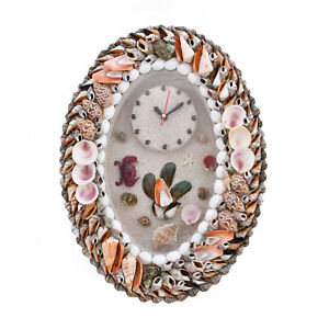 Handcrafted Multi Color Oval Shape Sea Shell Home Wall Decoration Clock