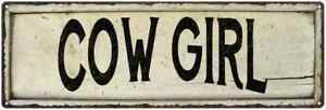 COW GIRL Farmhouse Style Wood Look Sign Gift   Metal Decor 106180028129