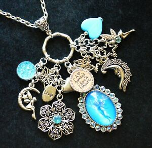FAIRY FLOWER FAMILY LOVE STAR LIVE Butterfly Moon CHARM PENDANT NECKLACE