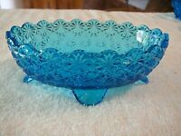 RARE BEAUTIFUL VINTAGE FOOTED OVAL CUT GLASS Nut/Trinket Dish Bright Blue