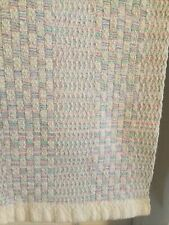"""Vintage Cotton Baby Blanket Pastel Woven Knit Waffle Weave 34"""" X 34"""""""