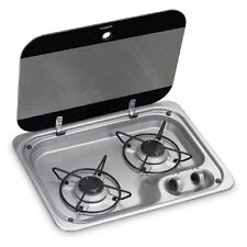 2-Burner Gas Hob Cooktop With Glass Lid, 460 X 335 MM DOMETIC HBG 2335