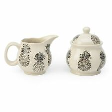 Black and White Pineapple Sugar and Cream Set by Signature Housewares