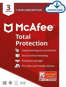 McAfee Total Protection 2021 -1 Year - 3 Devices - Windows Mac Mob Global