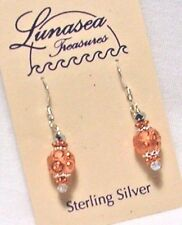 LUNASEA TREASURES INDIA PRINCESS COPPER W/ CRYSTAL STERLING SILVER BEAD EARRINGS