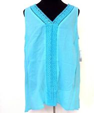 Plus Size 2X Turquoise Tank Top Crochet Trim Panel Catherines Blouse NWT