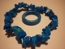 cristalloterapia BRACCIALE HOWILITE BLU + ANELLO braccialetto cristallo reiki