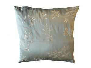 Luxurious silver/slate Embroidered floral dupion silk cushion COVER ONLY