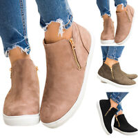 Womens Ladies Zipper Casual Shoes Platforms Pumps Trainers Low Top Ankle Boots