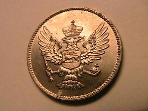 1914 Montenegro 20 Para Choice AU+/BU Lustrous Original Nicholas I Nickel Coin