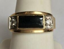 MEN'S YELLOW GOLD DIAMOND & ONYX RING. SIZE 9