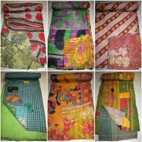Bedspread Vintage Kantha Quilt Reversible Indian Cotton Throw Handmade Twin Size