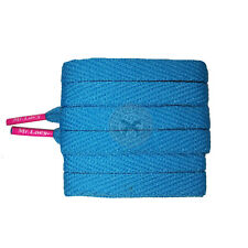 Mr Lacy Flatties Colour Tips - Mellow Blue & Neon Pink Shoelaces - 130cm Length