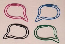 Speech Bubble Shaped Paper Clips Pack 24 Pink Green Blue Black 175 Wide