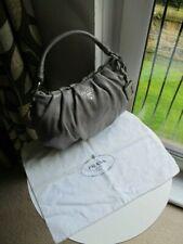 100% Genuine Prada Shoulder Bag Handbag Baguette Leather Sparkle Silver Grey