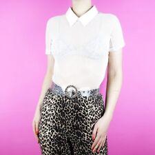 VINTAGE White Net Sheer See Through Pastel 90s Y2K Rave Zip Collar T Shirt Top S