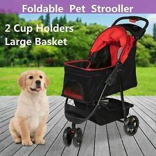 Foldable Dog Stroller Pet Travel Carriage Portable Carrier w/Cup Holder 3 Wheel