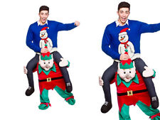 Noël Lutin Mascotte Hommes Père Noël Helper Mascotte Costume Déguisement de Luxe