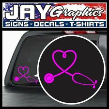 Cute Pink Nurse Heart Stethoscope Vinyl Window Decal | Car SUV Truck Stickers RN
