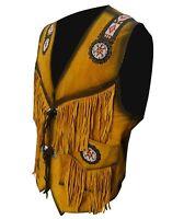 Bgi Men's Western cowhide suede Leather vest Fringe & beads NATIVE AMERICAN COAT