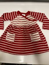 HANNA ANDERSSON BABY GIRLS RED +white striped dress size 75