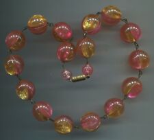 50er Jahre alte hübsche Kette Perlenkette Kugelkette Collier Bakelit Bonbonfarbe