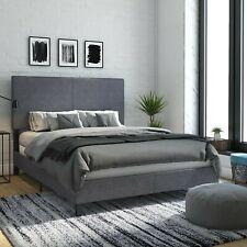 Janford Upholstered Bed with Chic Design | Queen | Grey Linen