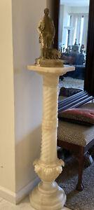 "Antique Alabaster Art Nouveau Display/Pedestal/Stand  41 """