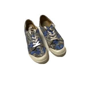 Dansko Vegan Canvas Sneakers Womens Walking Shoes Blue Floral Lace Up US 7.5