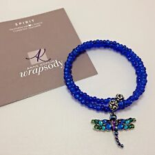 "Anne Kopik Swarovski Crystal Beaded Wrap Bracelet with Dragonfly Charm ""Spirit"""